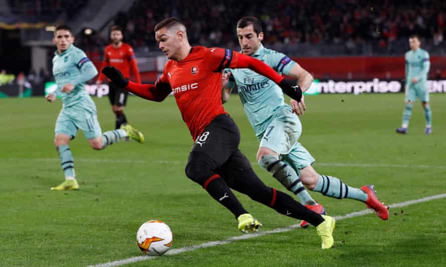 Hatem Ben Arfa bursts past Arsenal's Henrikh Mkhitaryan in Rennes' 3-1 win on Thursday.