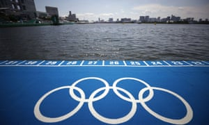 The Olympic rings at Odaiba Marine Park in Tokyo.