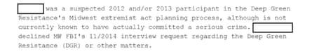 From an FBI communication on Deep Green Resistance, dated 28 November 2014.