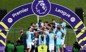 Manchester City players give Touré a send-off during their Premier League title celebrations.