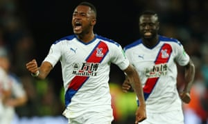 Jordan Ayew celebrates scores for Palace in the dying seconds.