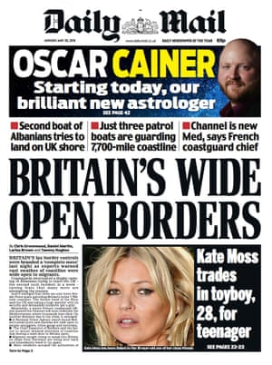 Mail front page: Britain's wide open borders