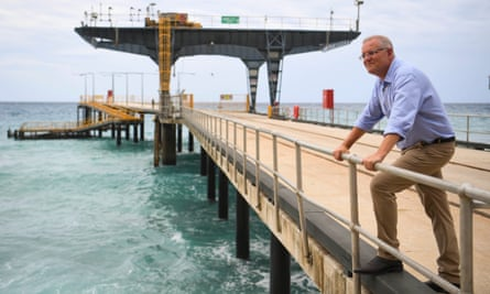 Scott Morrison poses on the Christmas Island jetty