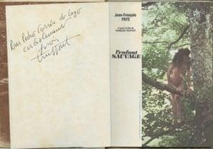Autograph by Francois Truffaut, in a book sent to Pedro Corrêa do Lago in 1970