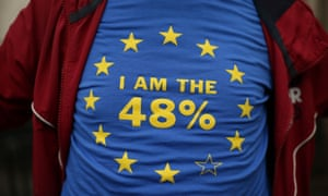 A protester outside the High Court wearing a T-shirt with the EU flag on it.