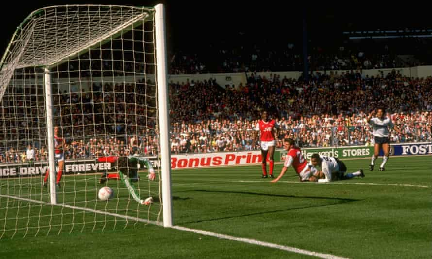 Brian Stein scores the winning goal for Luton against Arsenal in the League Cup final in 1988.