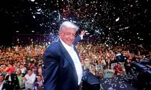 Andrés Manuel López Obrador celebrates his victory.