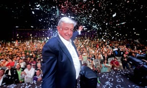 Andrés Manuel López Obrador waves to supporters in Zócalo, the main square in central Mexico City