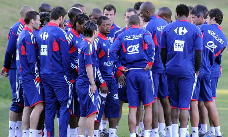 France's captain Patrice Evra with his team-mates after a clash with the coach Raymond Domenech during the 2010 World Cup.