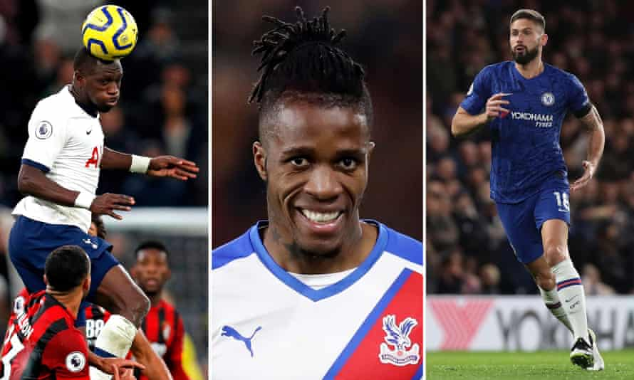 Moussa Sissoko of Tottenham; Wilfried Zaha of Crystal Palace; Oliver Giroud of Chelsea.