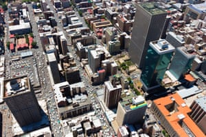 Heavy traffic in Johannesburg's Central Business District.
