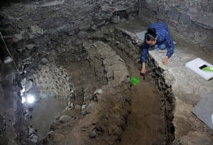 Lorena Vazquez, an archaeologist, works at the site near Templo Mayor.