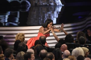 """Regina King celebrates her win for the award for outstanding supporting actress in a limited series or movie for """"American Crime"""""""