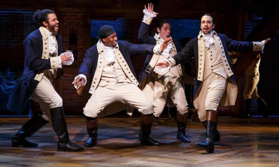 Daveed Diggs, Okieriete Onaodowan, Anthony Ramos and Lin-Manuel Miranda in Hamilton at the Richard Rodgers theatre in New York.