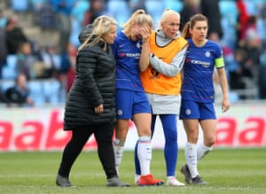Eriksson is consoled by Emma Hayes the manager of Chelsea Women