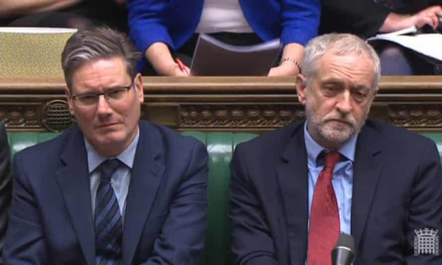 The shadow Brexit secretary, Sir Keir Starmer, and the Labour leader, Jeremy Corbyn, in the House of Commons on Monday.
