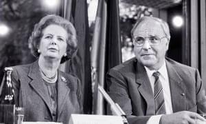 Margaret Thatcher with German chancellor Helmut Kohl