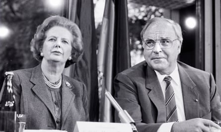 Margaret Thatcher with German chancellor Helmut Kohl