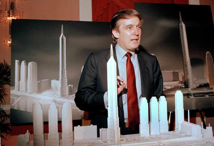 Trump, then a a real estate mogul, in 1985, with an artist's display of Television City, a development proposal on the west side of Manhattan.