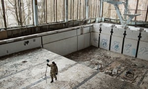 Michał Grzesiczek takes photos for a Chernobyl virtual reality project.