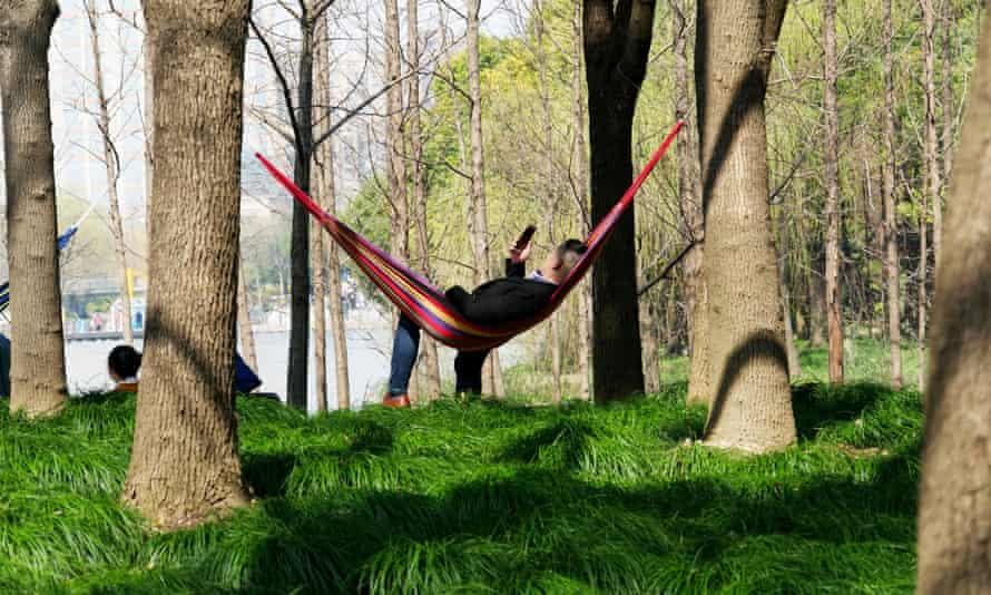 Man relaxing in hammock Shanghai