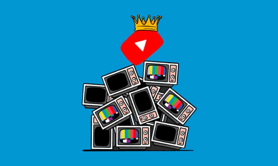 Illustration of YouTube wearing a crown and old TVs