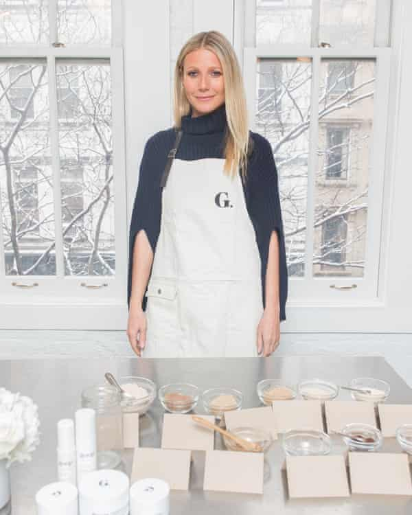 Gwyneth Paltrow with some of her products.