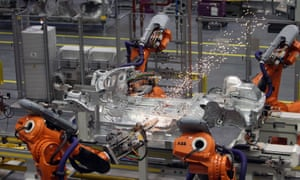 robots at work on a production line