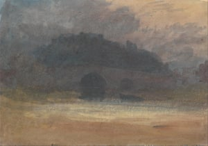 Turner's Evening Landscape with Castle and Bridge in Yorkshire.