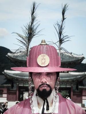 A royal guard at Gyeongbokgung Palace, Seoul, South Korea.