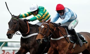 Verdana Blue (right) with Nico De Boinville up, beats Buveur D'Air in The Unibet Christmas Hurdle.