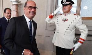 The Democratic party leader, Nicola Zingaretti, leaves after talks with the Italian president, Sergio Mattarella, in Rome last week.