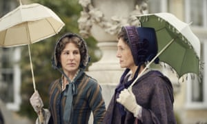 Tamsin Greig, left, as Anne Trenchard and Harriet Walter as Lady Brockenhurst in Julian Fellowes' TV drama Belgravia, with costumes designed by James Keast.