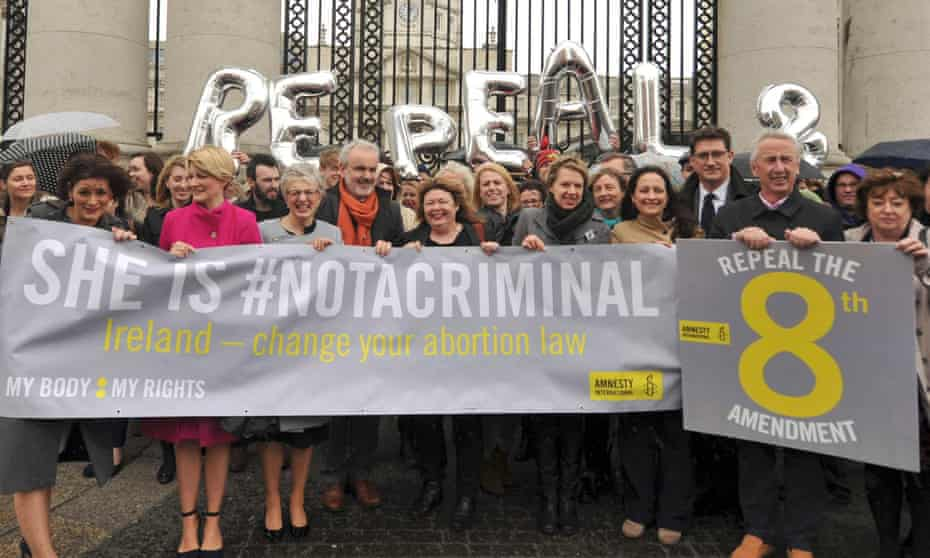 Pro-choice campaigners outside government buildings in Dublin.