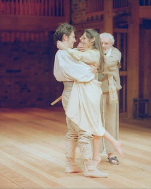Romeo and Juliet, 1989. Directed by Terry Hands, designed by Farrah. The photograph shows Romeo (Mark Rylance), Juliet (Georgia Slowe), Friar Laurence (Patrick Godfrey).