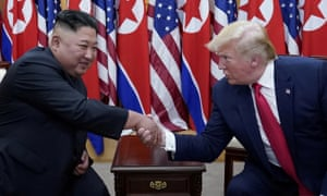 Donald Trump and Kim Jong-un meet in the demilitarized zone on 30 June.