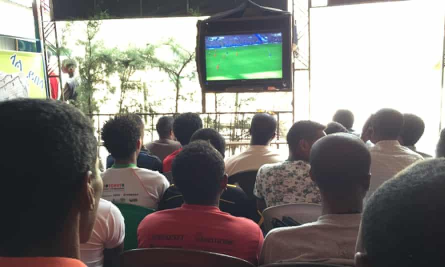 Premier League football is broadcast at the Sebli Cafe in Lalibela, Ethiopia