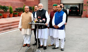 Indian prime minister Narendra Modi stands with BJP leaders at the winter session of parliament in New Delhi.
