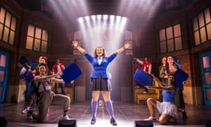 Carrie Hope Fletcher as Veronica Sawyer with the cast of Heathers.
