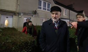 Jeremy Corbyn joins Labour activists to canvass in Govan, Glasgow, before last December's election.