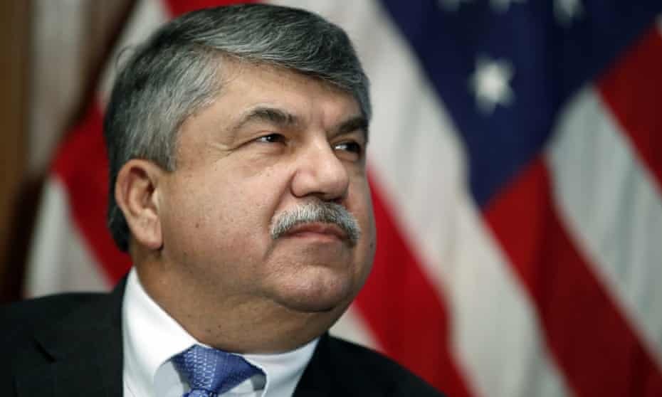 Richard Trumka in Washington DC in April 2017. A burly man with thick eyebrows and a bushy mustache, Trumka was the son and grandson of coal miners.