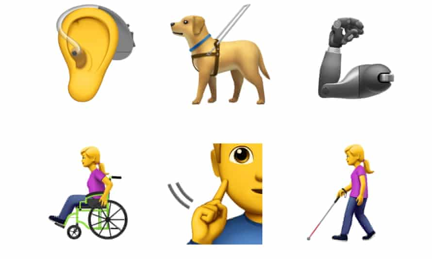 New disability emoji characters.