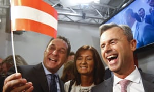 Norbert Hofer, the Freedom party's presidential candidate, celebrates with supporters in Vienna