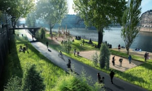 Artist's impression of how the right bank of the Seine will look after it is fully pedestrianised.