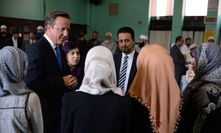 David Cameron and Sayeeda Warsi at Jamia Masjid in Manchester