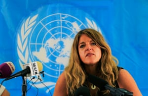 Hilde Johnson addresses the media in Juba January 1, 2014.