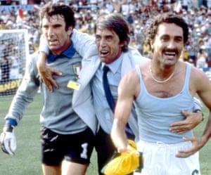 Dino Zoff, Cesare Maldini and Claudio Gentile celebrate.