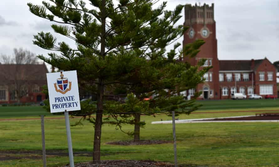 A 'private property' sign in a field at Geelong Grammar school, Victoria