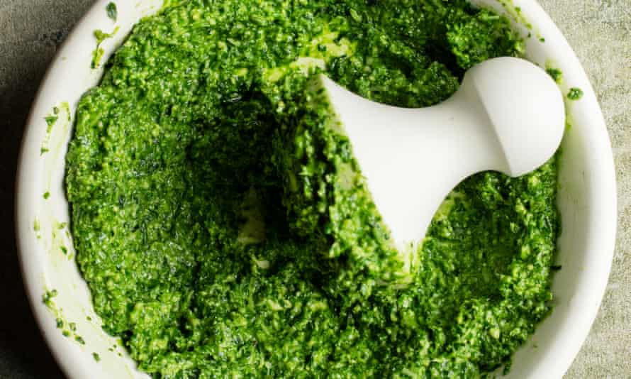 'More delicate and interesting than the usual pesto': wild garlic and basil sauce.