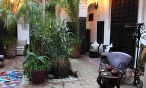 Courtyard at Riad Ta'achchaqa, Marrakech, Morocco.